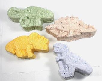 4 Dinosaur Bath Bombs - kids, children, t-rex, brontosaurus, stegosaurus, triceratops, bath fizzy, bath fizzies, valentines day, party favor