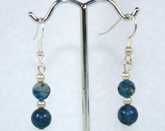 Two Blue Stones and Silver - earrings, sodalite, lapis lazuli, blues, wedding, back to school
