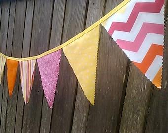Bunting Flags Sunset Chevron, Lemon Yellow, Bright Pink, Orange Pennant Garland