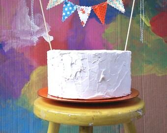 Cake Bunting Goldfish orange, light blue, lime and yellow Fun cake topper for birthdays, showers,