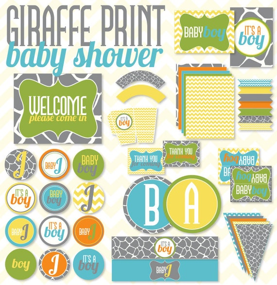Boy Baby Shower PRINTABLE Giraffe Print Party by Love The Day