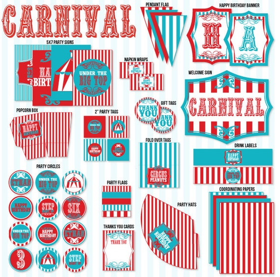 Circus Birthday Party PRINTABLE Vintage Circus Collection by Love The Day