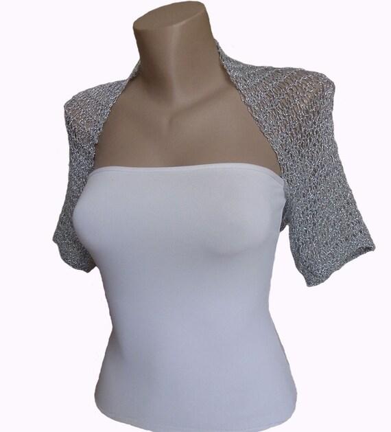 Knit  Silver Bolero, Wedding Bolero Shrug Sleeves Jacket, One size:L - 1X,  Weddings Bridal Women