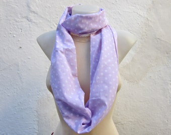 Polka Dot, infinity scarf, Loop Scarves, Neckwarmer, Fabric scarf, Neckwarmer, Circle Accessories, Women Tube Necklace,Lilac White