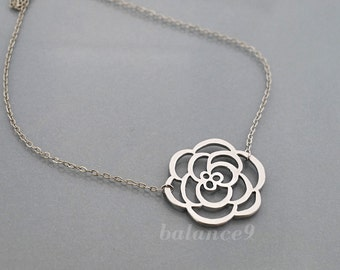 Silver flower necklace, simple charm pendant, everyday jewelry, holidays gift, by balance9