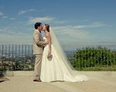 Classic, sheer, and simple, elegant plain 90 inches Single tier chapel length bridal veil, wedding veil, chapel veil