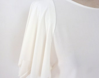 White Tunic with drape sleeves and slight flair bottom