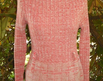 Red White Variegated St Michael Orlon Nylon Knitted Pencil Skirt Dress Moc Turtle Neck Chic Party Upcycle Recycle