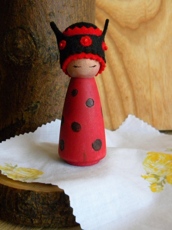Lady Bug Birthday Doll, Birthday Queen, Summer Doll, Queen Lady Bird, Lady Bug, Waldorf Birthday, Waldorf Gnome, Wooden Doll
