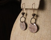 Earrings - Artisan enamel with wood, copper and natural brass