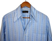 Vintage 1970's H.I.S. Button Down Light Blue Shirt Patterned M Made In USA