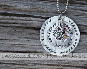 Personalized Hand Stamped Mother's Necklace- Family Tree Birthstone Necklace