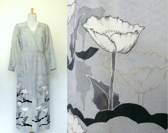 Vintage 80s 90s long grey dress floral border print textured Asian (medium)