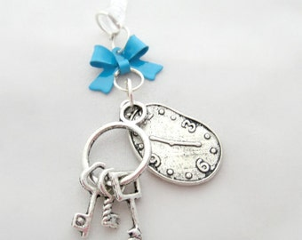 Clock and key iPhone dust plug charm, Alice in Wonderland earphone jack charm