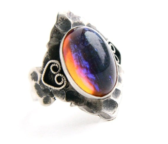 Vintage Dragon's Breath Sterling Silver Ring - Large Oval Glass Fire Jelly Opal Size 5 Jewelry / Rainbow Statement