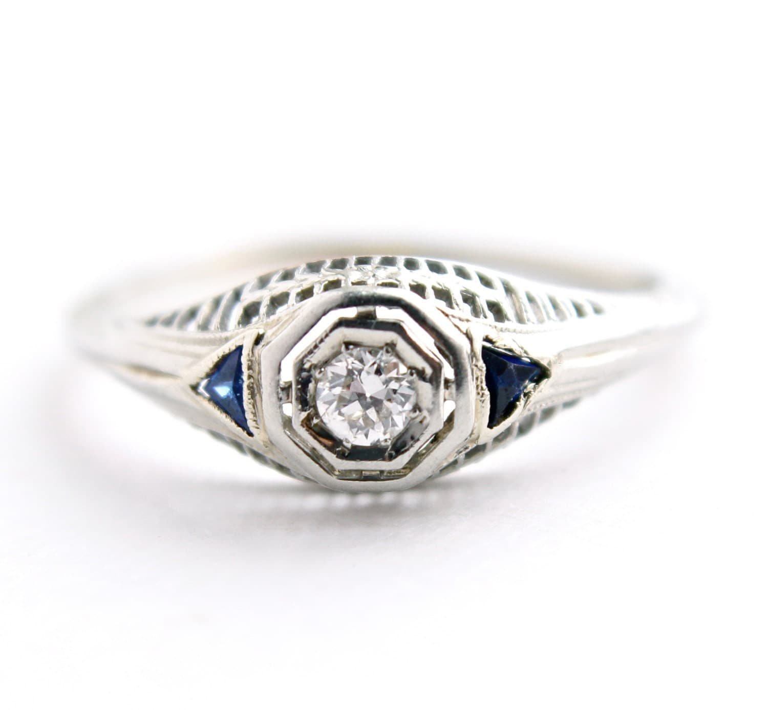 antique 18k white gold sapphire ring by