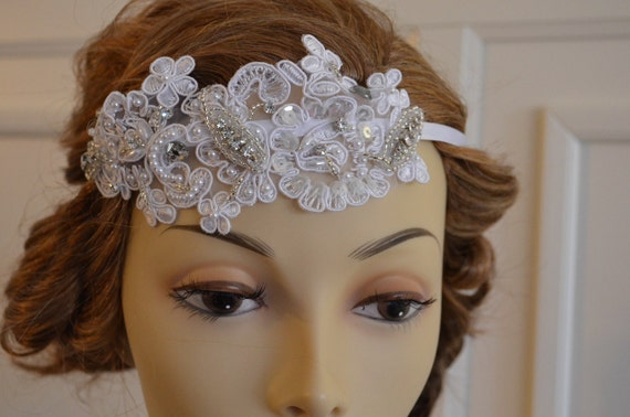 White Lace Headband, Lace Headband with pearls, Lace headband with rhinestones beading,Flapper, ONE OF A KIND
