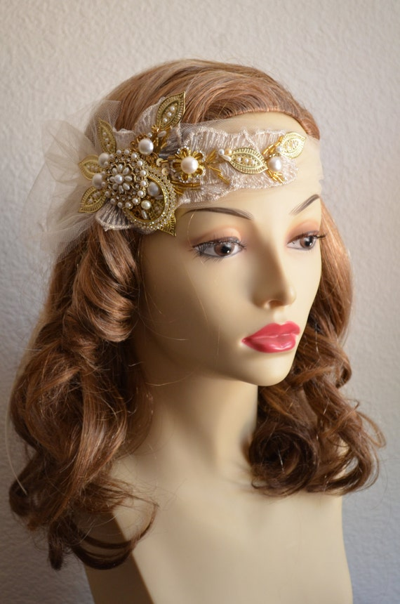 One of a KIND,Champagne Tulle headpiece,Gold brooch,rhinestones and pearls,1920s headpiece,1930s headpiece,Champagne and Gold Headpiece
