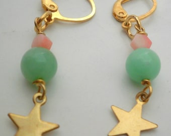 Golden Earrings with Stars and Chrysoprase