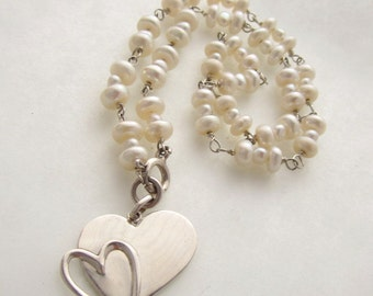 White Pearl Necklace with Sterling Silver Hearts Pendant