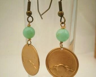 Chrysoprase Golden Brass  Earrings