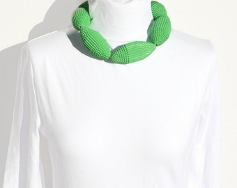Mint: Necklace with Huge Beads of Corrugated Cardboard