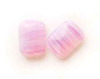 18x13mm VINTAGE Pink Striped Opal Octagon Glass Jewels Gems Stones, Unfoiled, Quantity 2