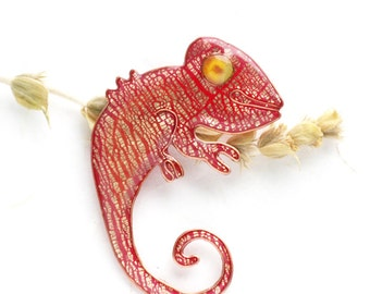 Animal jewelry - Gold and Red Chameleon Brooch
