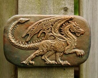 Dragon Art, Winged Dragon Wall Plaque, Garden Art Dragon Stone Sculpture, Dragon Wall Decor