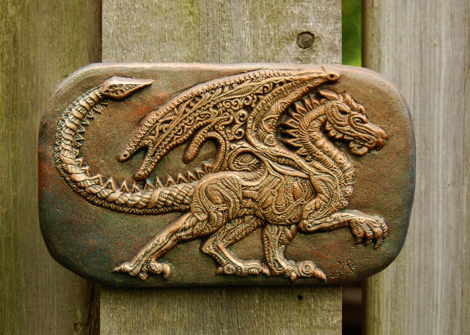 Dragon art winged wall plaque garden stone