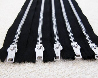 14inch - Black Metal Zipper - Silver Teeth - 5pcs