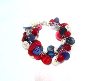 Patriotic Red White and Blue Button Charm Bracelet OOAK