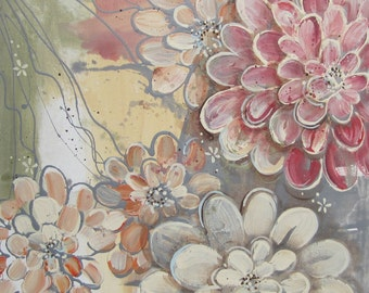 Abundance Zinnia Flowers No 3... 16 x 20 Original Abstract Painting