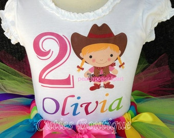 Rainbow Cowgirl  Birthday Outfit Set With Tutu And Personalized Shirt --All Sizes 6 9 12 18 24 Months 2T 3T 4T