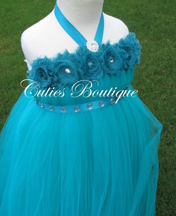 Teal flower dress wedding dress birthday holiday by cutiesboutique