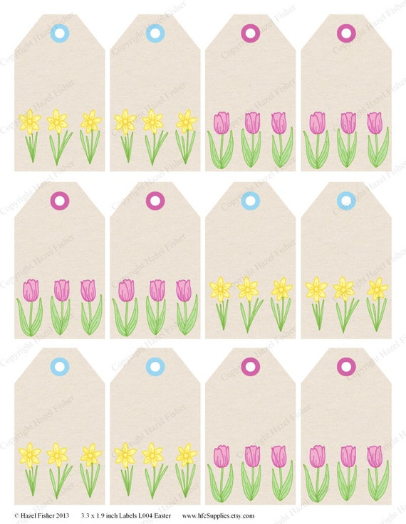 Daffodil and Tulip Spring Easter Printable Labels / by hfcSupplies