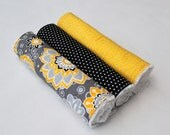 Contoured or Rectangular Girly Burp Cloth Set - Set of Three Chenille Burp Rags - Yellow and Black Floral and Polka Dots - BABY GIRL GIFT