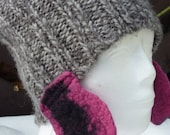 Hand Knitted Hap with Pink and Black Felted Earflaps - Grae Women Hat - Warm Winter & Spring Cap