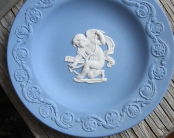 blue wedgwood dish cupid vintage