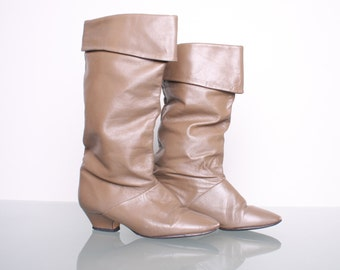 Size 5.5 - 5 1/2 - Vintage Boots 80s Boho Hipster Leather Tan Scrunch With Cuffs