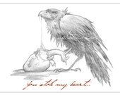 raven eating anatomical heart valentine's day card print from original pencil drawing