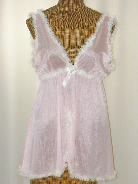 Vintage Pink Empire Waist Baby Doll By Voilavintagelingerie