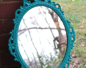 Ornate Mirror,Oval Curvy Design,Turquoise or Choose Color  Vintage Metal Mirror Upcycled  17 x 12 inchess