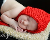 Red Riding Baby girl knit hat photo prop pixie bow hat hand knit newborn bonnet photo prop  europeanstreetteam handmade - ZucchiniIsland