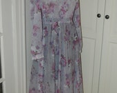 70s Dress, Sheer, Lavender, Gray, Floral, Print, Secretary, Disco, Full Skirt, Size M/L