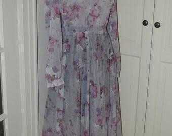 70s Dress, Sheer, Lavender, Gray, Floral, Print, Secretary, Disco, Full Skirt, Size M/L