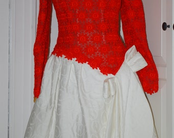 80s Dress, Arnold Scaasi, Couture, Wedding, Cocktail, Tea Length, Orange Lace, White Silk, Size S/XS