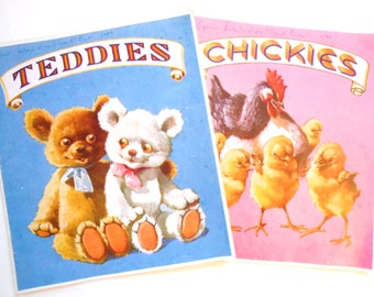 Teddies and Chickies, Two Softcover Vintage Children's Books, 1940s