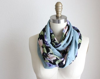 Upcycled Rayon Scarf.   Teal Floral Print, Extra Long Infinity Scarf