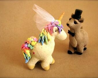Custom unicorn and alpaca wedding cake topper